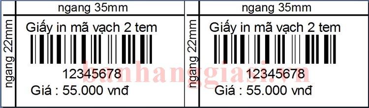 giấy in mã vạch 2 tem